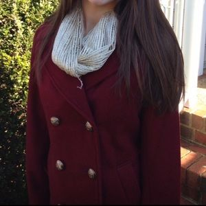 Maroon Pea Coat with Gold Details
